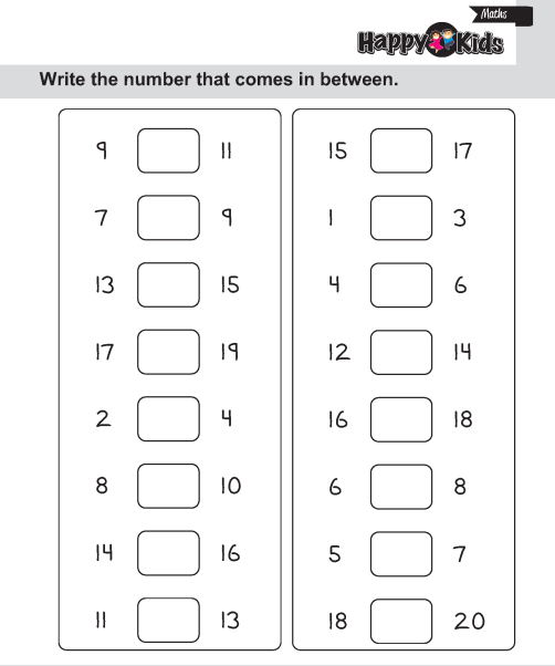 Kindergarten Maths Number In Between, After And Before