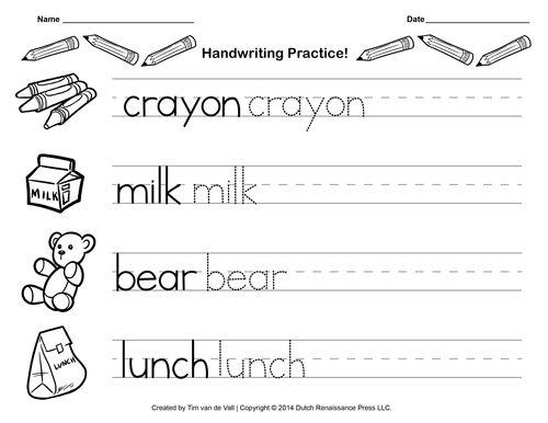 Kindergarten Writing Worksheets Worksheets For All
