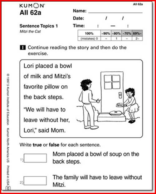 Kumon Worksheets For Kindergarten Worksheets For All
