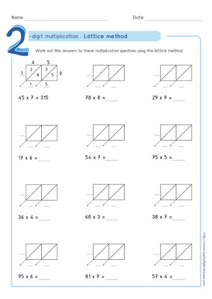 Lattice Method Multiplication Examples Worksheets & Test