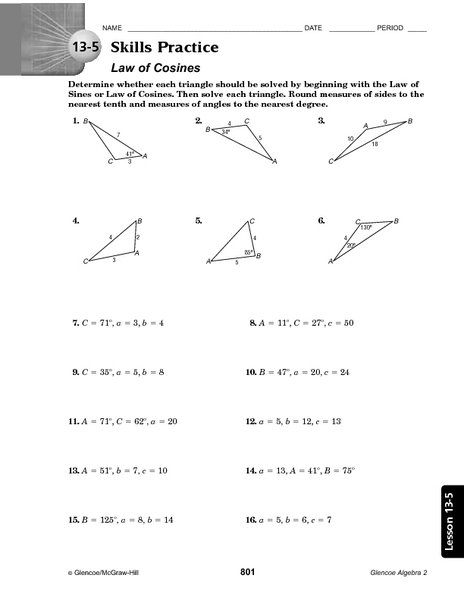 Law Of Cosines Worksheet Worksheets For All