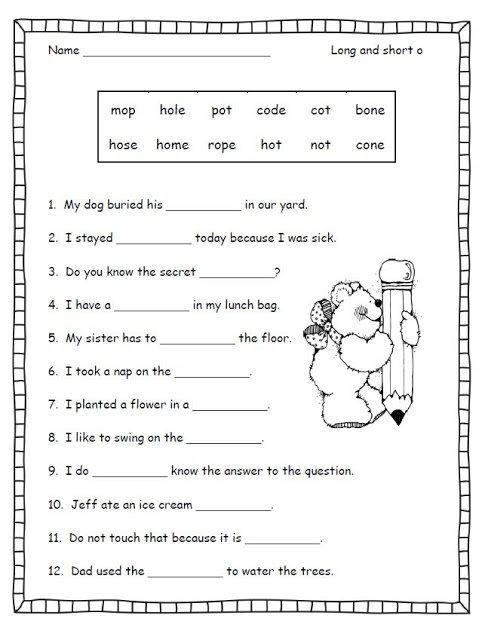 Long O Worksheets 2nd Grade Worksheets For All