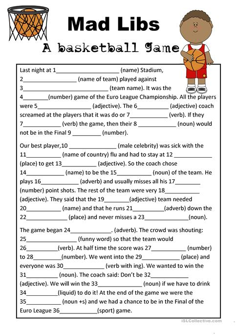 Mad Libs Basketball Game Worksheet