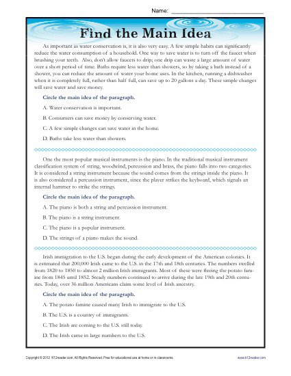 Main Idea Worksheets For 5th Grade Worksheets For All