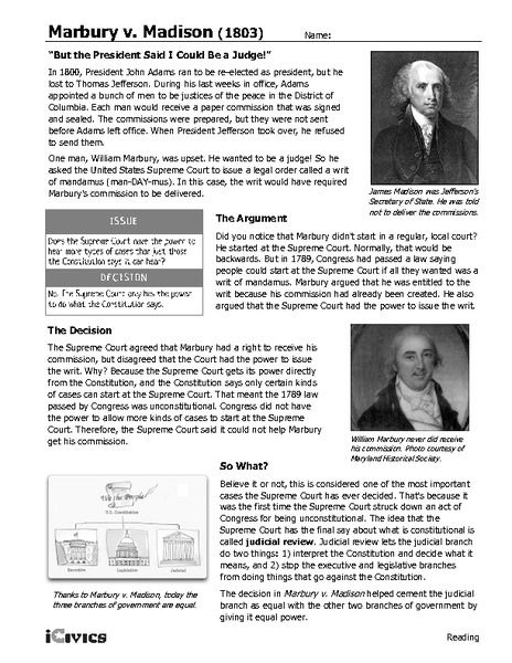 Marbury V Madison 1803 6th 12th Grade Worksheet Lesson Planet