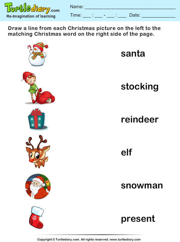 Match Christmas Words And Pictures Worksheet