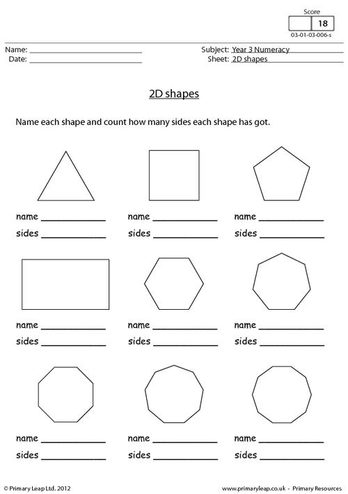 Maths Worksheets 2d Shapes