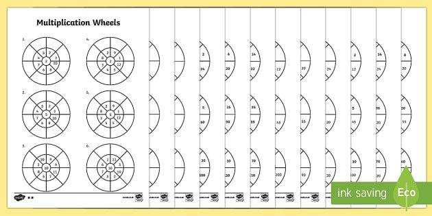 Mixed 2, 5 And 10 Times Table Multiplication Wheels Worksheet