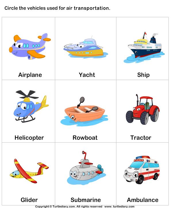 Modes Of Transportation Worksheet