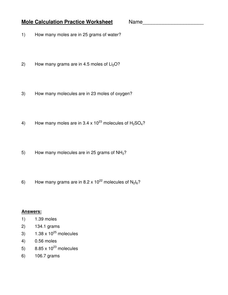 Mole Conversion Practice Worksheet The Best Worksheets Image