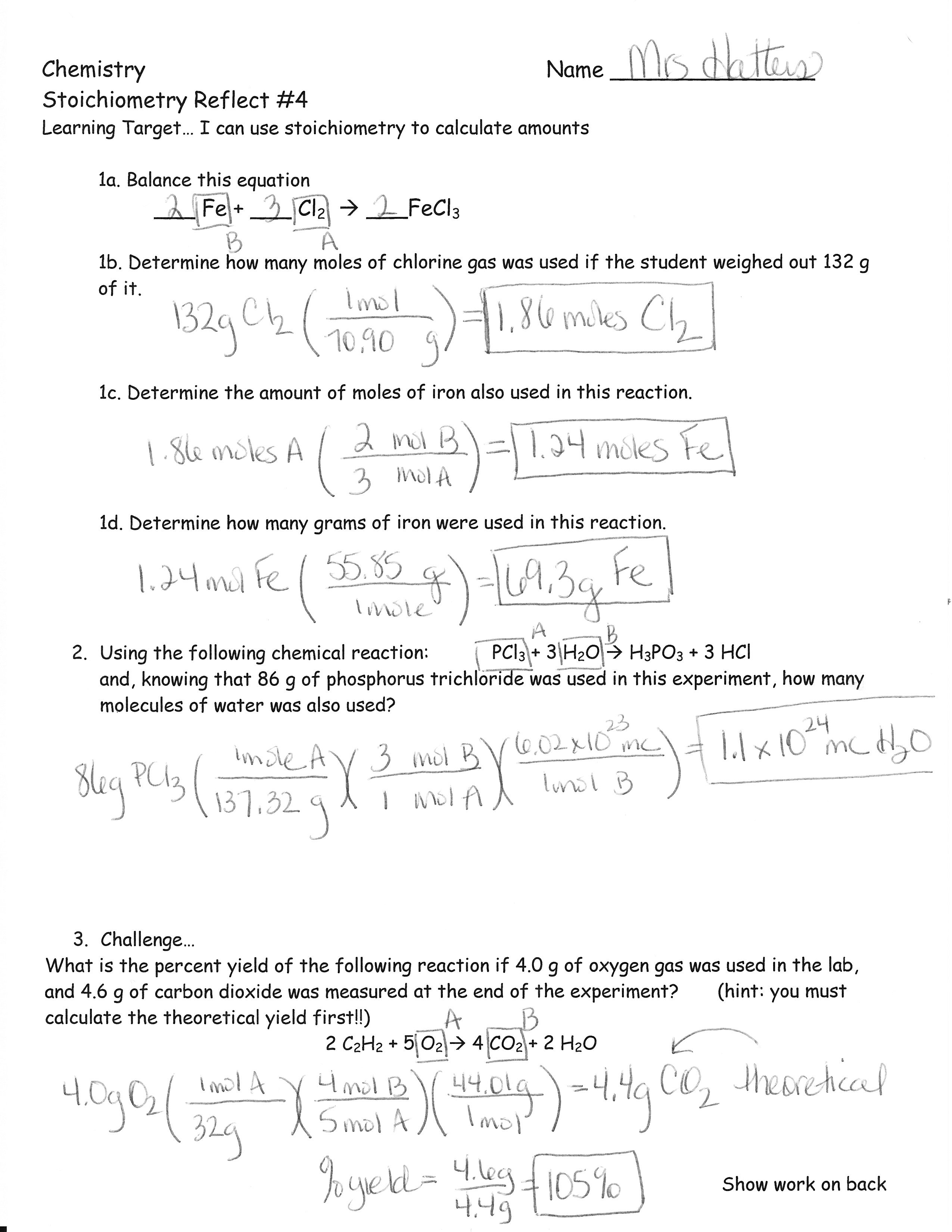 Mole Mole Stoichiometry Worksheet Answers The Best Worksheets