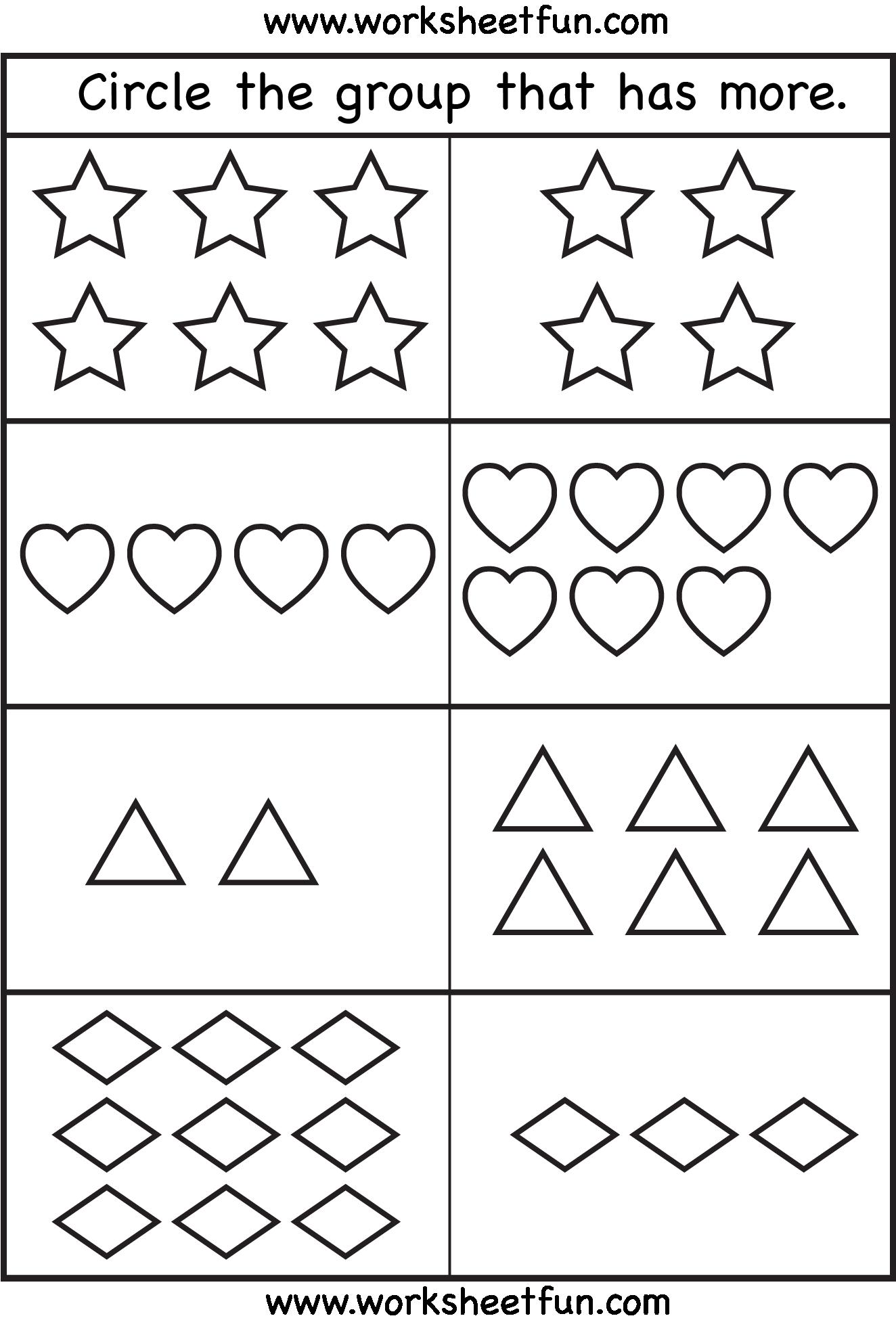 More And Fewer Worksheets For Kindergarten The Best Worksheets