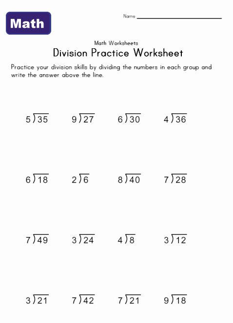 Multiplication And Division Practice Worksheets Simple Division