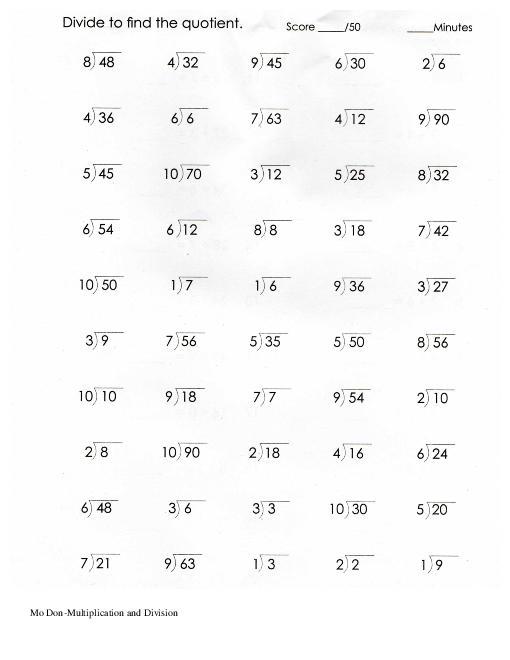 Multiplication And Division Worksheets Grade 3