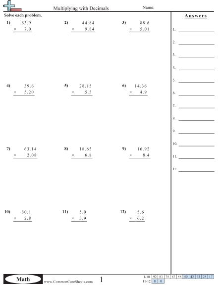 Multiplying Decimals Worksheets 5th Grade Worksheets For All