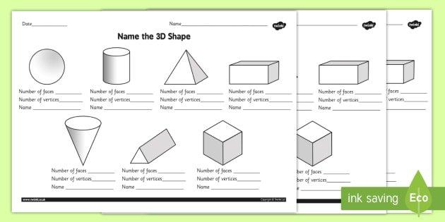 Name The 3d Shape Worksheet   Activity Sheet