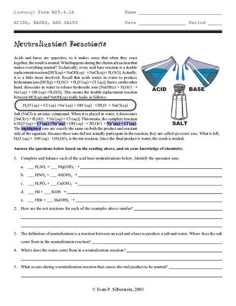 Neutralization Reaction Worksheet Worksheets For All
