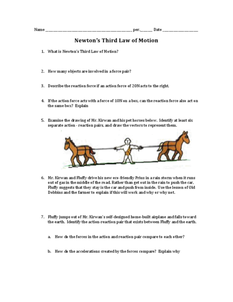 Newton Laws Of Motion Worksheet Middle School Worksheets For All