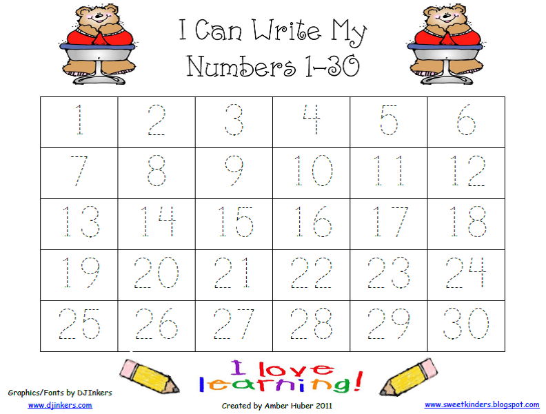 Number 1 To 30 Worksheet