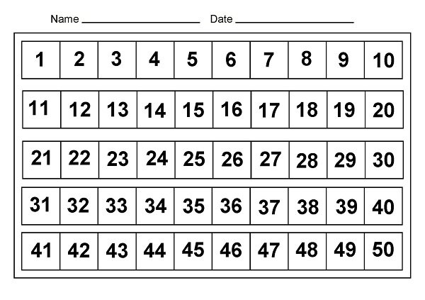 Number Chart 1 50 Worksheets For All