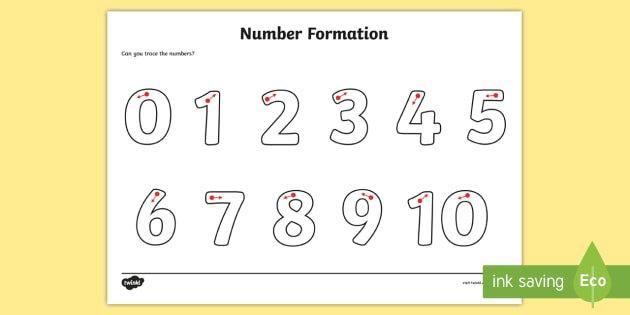 Number Formation Worksheet   Activity Sheet