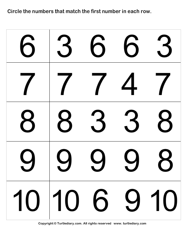 Number Identification Worksheets Match Numbers Up To Ten Worksheet