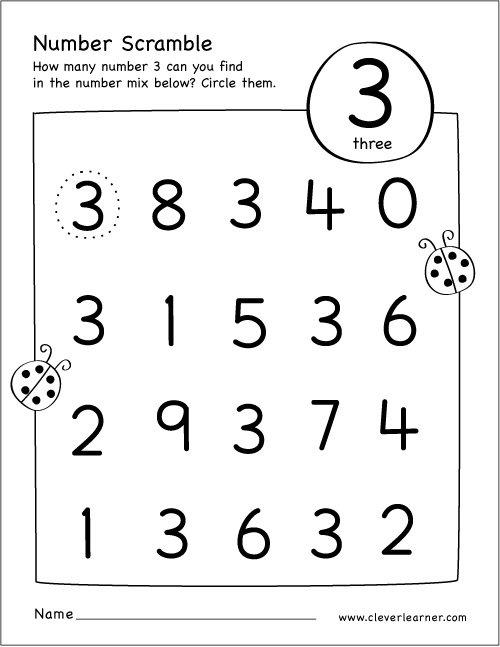Number Scramble Activity Worksheet For Number 3 For Preschool Children