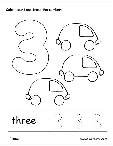 Number Three Writing, Counting And Identification Activity
