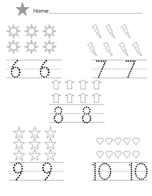 Numbers 6 10 Worksheets For Kindergarten Well Though Trace And