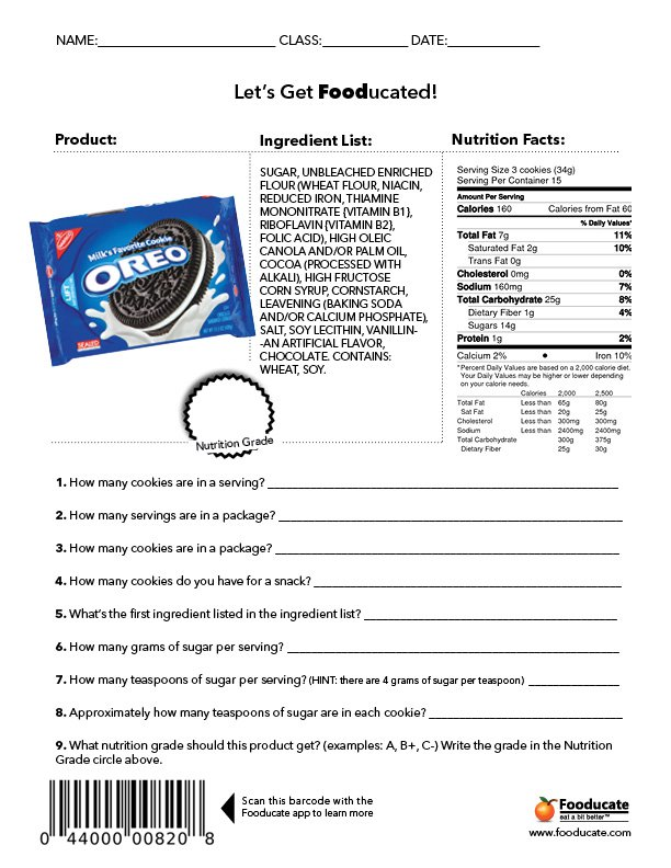 Nutrition Facts Label Activity School Worksheets Fooducate Oreos