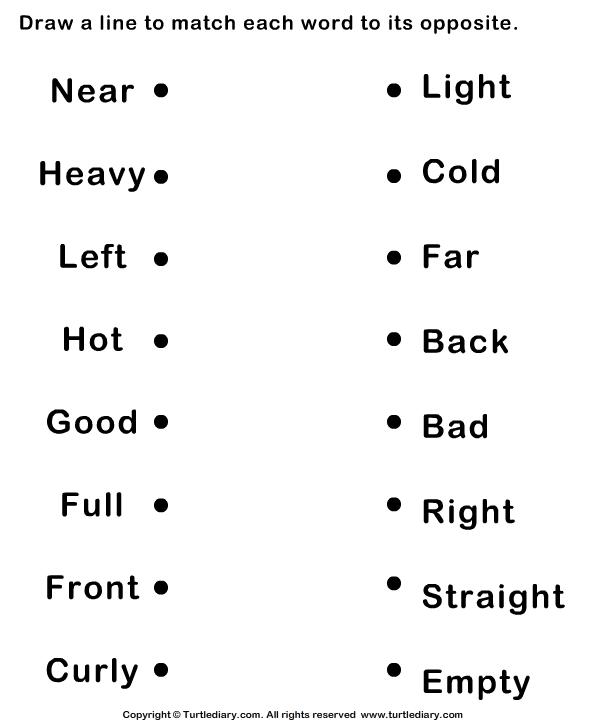 Opposite Words For Kids Worksheet Worksheets For All