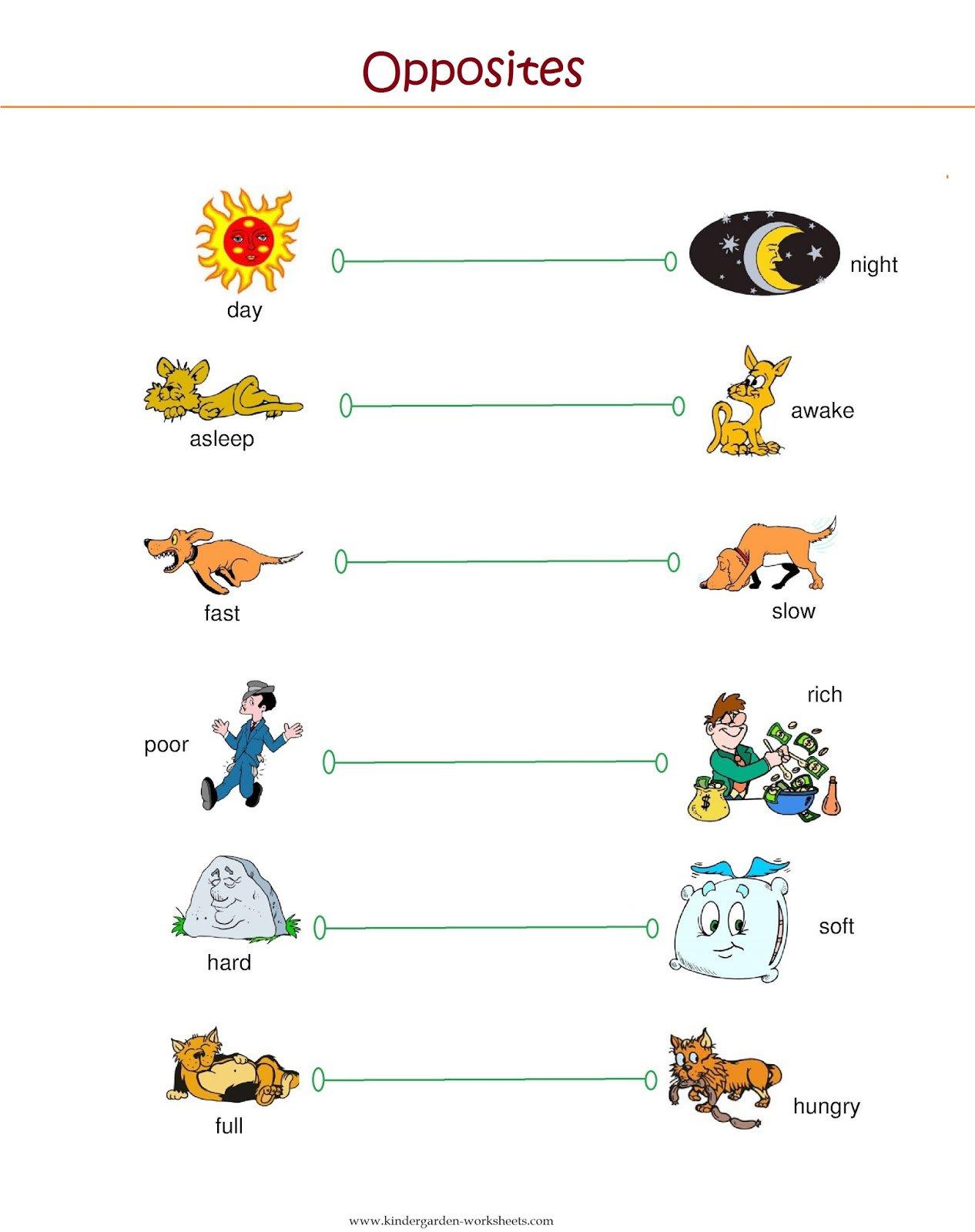 Opposite Words Worksheets For Kindergarten The Best Worksheets