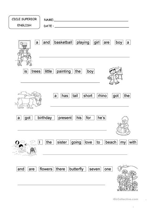 Ordering Sentences Worksheet