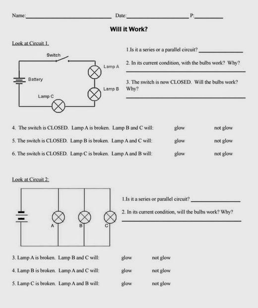 Parallel And Series Circuits Worksheet Worksheets For All