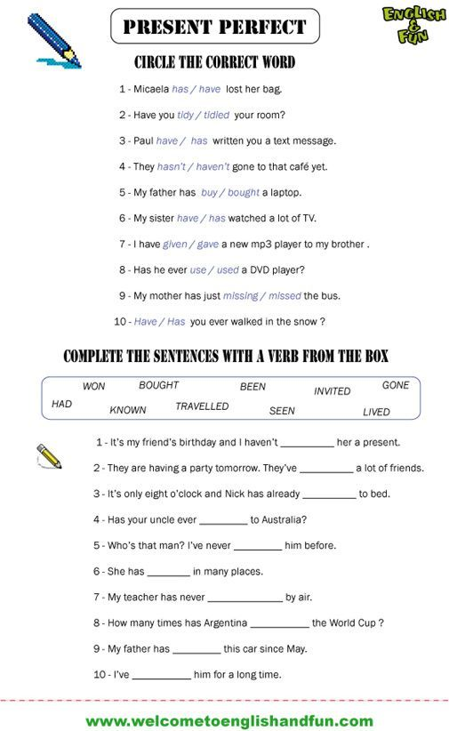 Past Simple And Present Perfect Exercise Pdf