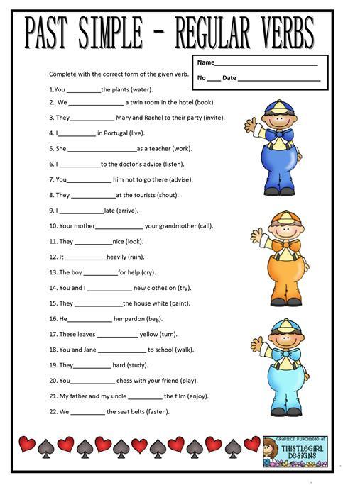 Past Simple Regular Verbs Worksheet