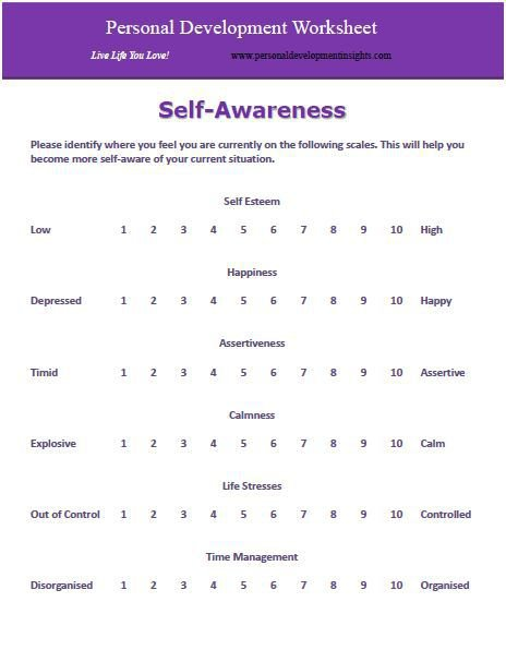 Personal Development Worksheets Worksheets For All