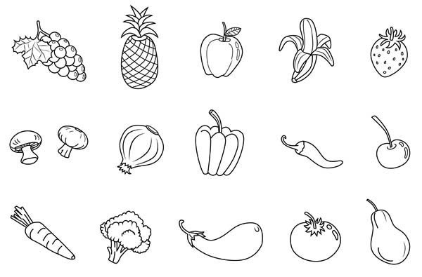 Picturesque Design Fruits And Vegetables Coloring Free Print Out