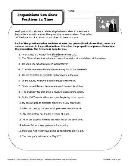Prepositions Worksheets Middle School Worksheets For All