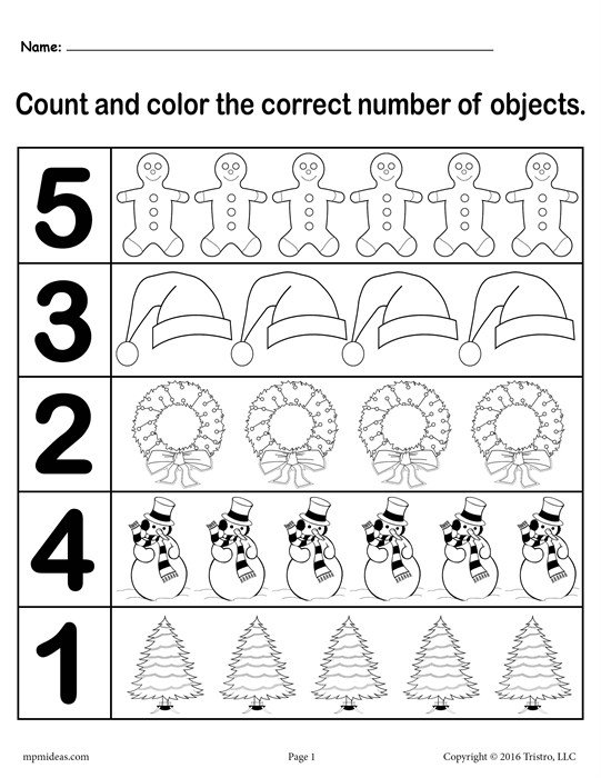 Preschool Counting Worksheets 1 5 Worksheets For All