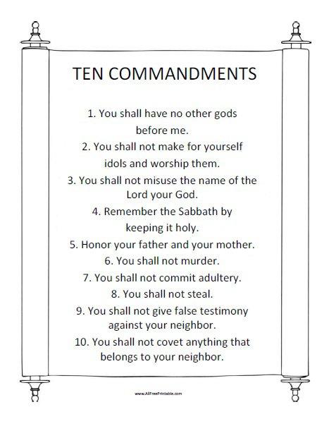 Printable 10 Commandments Free Printable Ten Commandments