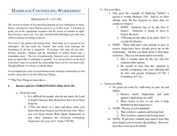 Printable Marriage Counseling Worksheets Worksheets For All