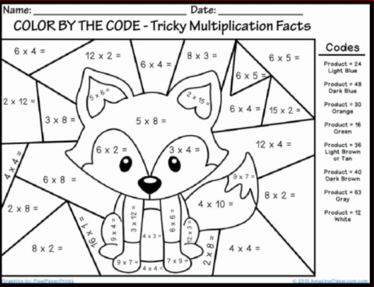 Printable Math Worksheets Color By Number