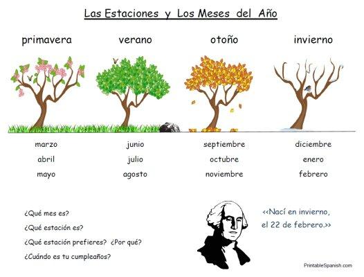 Printable Spanish Freebie Of The Day  Las Estaciones Y Los Meses