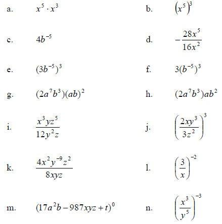 Printables  Simplifying Negative Exponents Worksheet