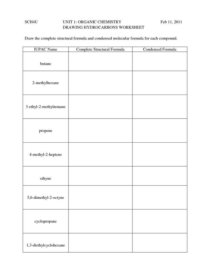 Printables  Worksheets For Organic Chemistry Worksheet 1 Alkanes