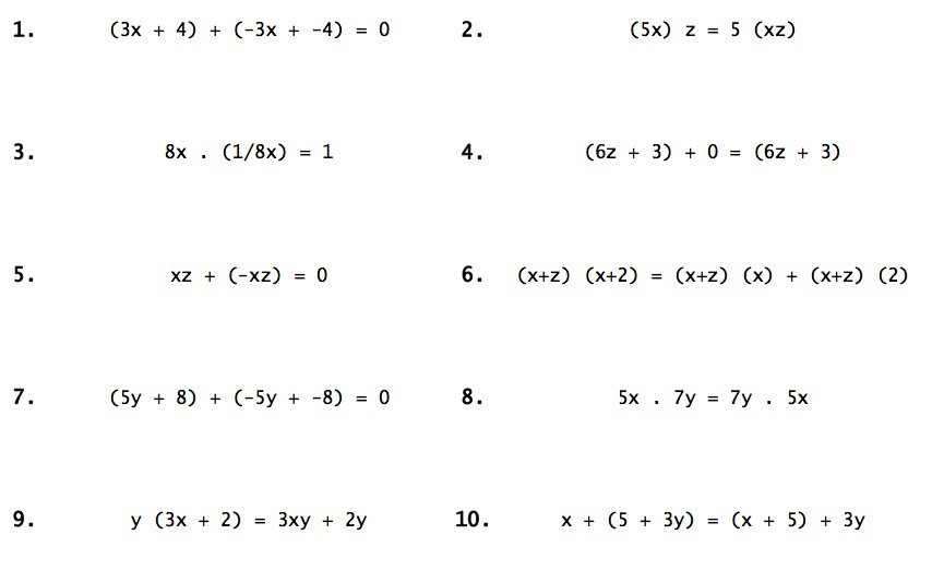 Properties Of Real Numbers Worksheet Answers Worksheets For All