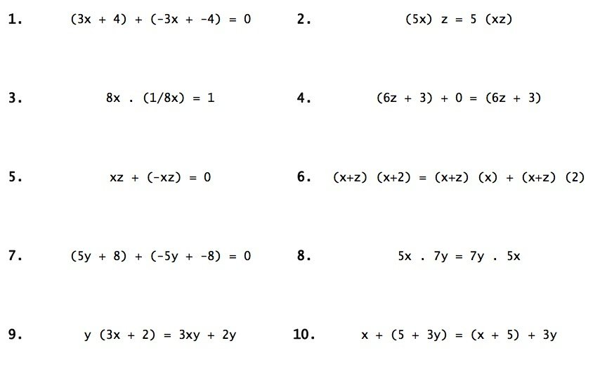 Properties Of Real Numbers Worksheet Worksheets For All