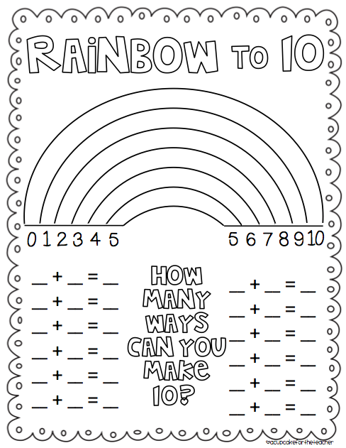 Rainbow Number Combinations To 10 Freebie {from Cupcake For The