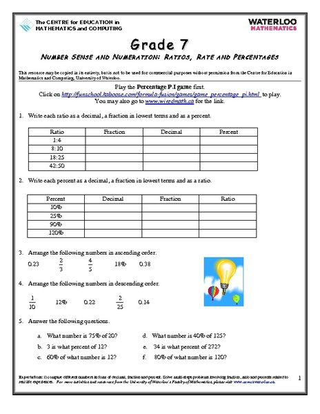 Ratios And Rates Worksheets 6th Grade Worksheets For All